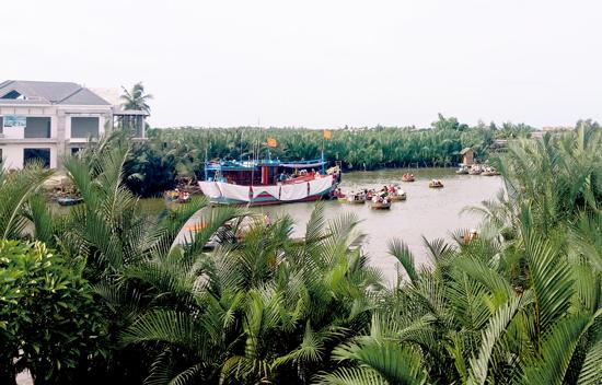 Khu vực biểu diễn lắc thúng chai tại rừng dừa Cẩm Thanh nhìn từ trên cao. Ảnh: VINH THẮNG
