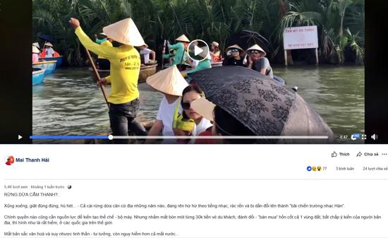 Trên mạng xã hội Facebook, nhiều cá nhân cũng rất bức xúc với cách làm du lịch hiện tại ở rừng dừa Cẩm Thanh. Ảnh VINH THẮNG
