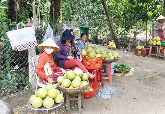 Mua bán trái cây dọc đường làng Đại Bình. Ảnh: C.N