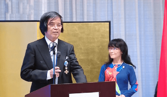 GS. Trần Văn Thọ phát biểu tại Đại sứ quán Nhật Bản ở Hà Nội. Ảnh: Internet