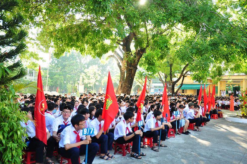 Học sinh Trường THCS Lý Tự Trọng trong lễ khai giảng năm học mới. Ảnh: VINH ANH