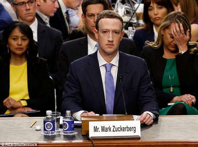 Ông chủ Facebook điều trần trước Quốc hội Mỹ vào tháng 4.2018 liên quan đến vụ rõ rỉ thông tin người dùng của mạng xã hội này trước đó. Ảnh: Shutterstock