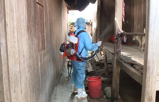 Phun thuốc diệt muỗi tại các khu vực dân cư.
