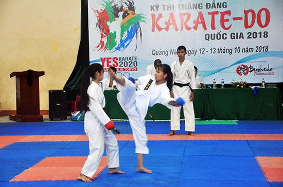 Hội Karatedo Quảng Nam vừa phối hợp với Tổng cục TD-TT tổ chức thi thăng đẳng quốc gia. Ảnh: T.V