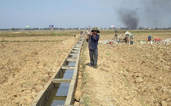 Cần ưu tiên xây mới, nâng cấp hạ tầng thủy lợi để chủ động cung ứng nước tưới cho cây trồng trong vụ đông xuân tới. Ảnh: Văn Sự