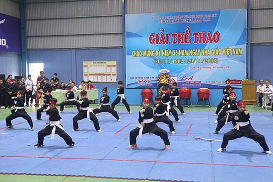 Học sinh tiểu học của Tam Kỳ biểu diễn võ cổ truyền. Ảnh: T.X