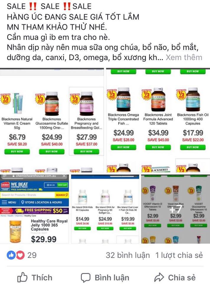 Các mặt hàng được rao bán trên mạng. Ảnh: KL