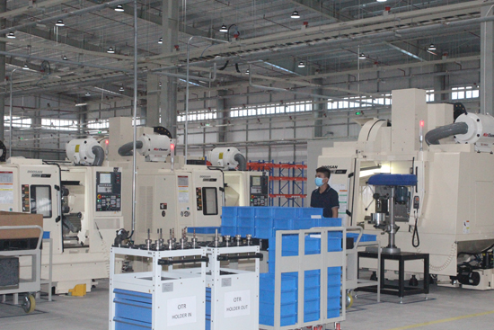 Modern technologies are applied in the factory.