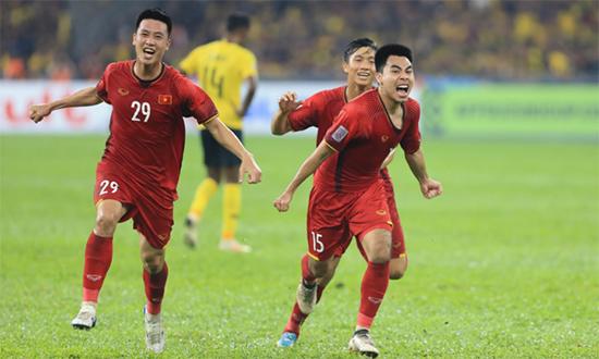 Niềm vui của các cầu thủ Việt Nam trong trận đấu trên đất Malaysia. Ảnh: Internet