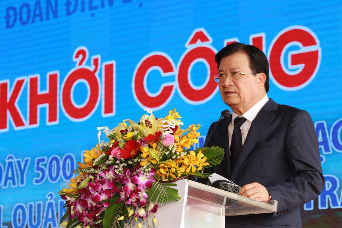 Ủy viên Ban chấp hành Trung ương Đảng, Phó Thủ tướng Chính phủ Trịnh Đình Dũng phát biểu tại lễ khởi công.