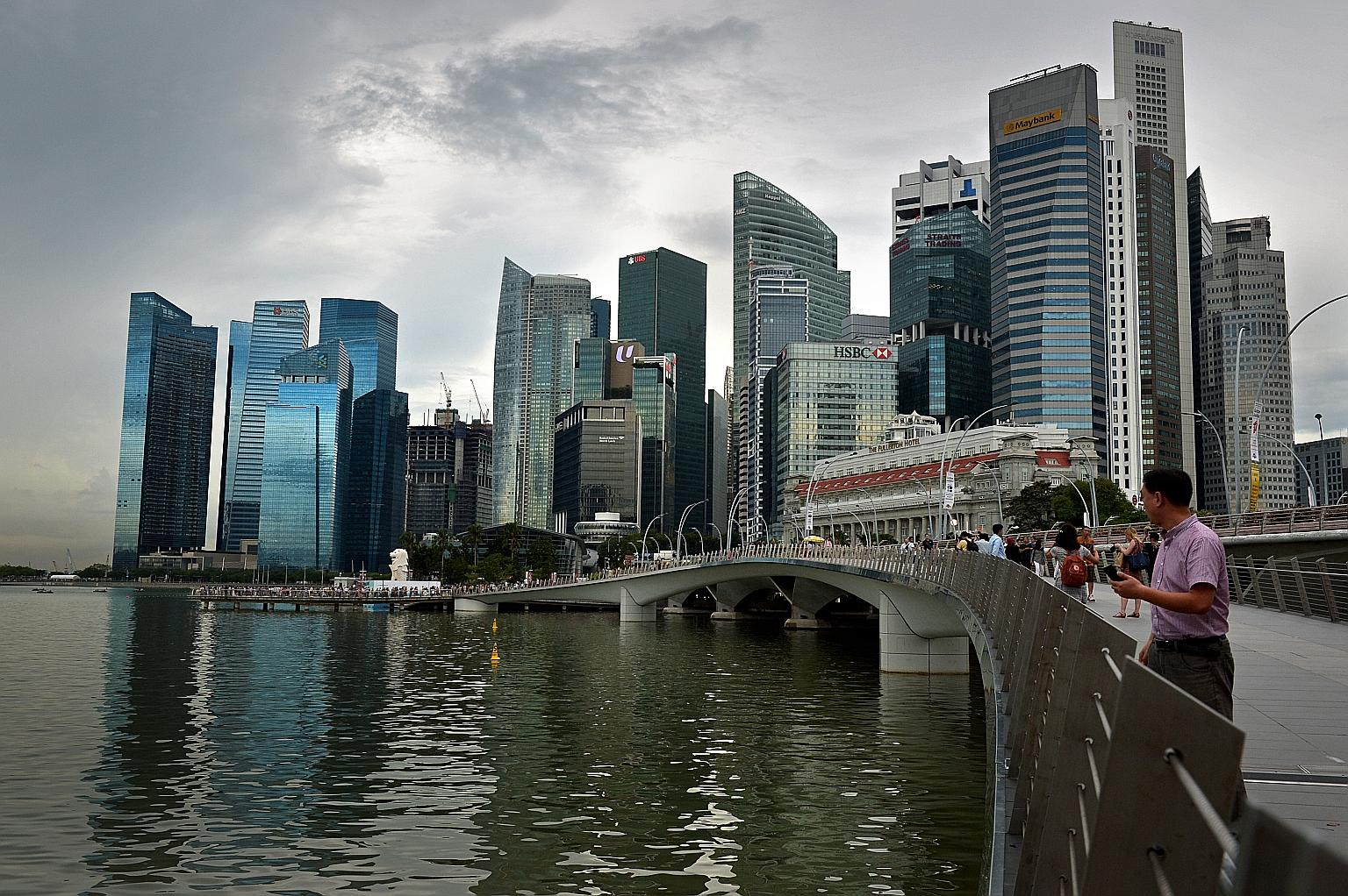 Trung tâm tài chính Singapore. Ảnh: straittimes