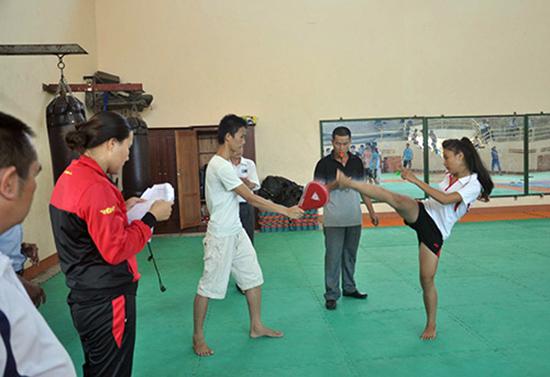 Trường Năng khiếu nghiệp vụ TD-TT Quảng Nam kiểm tra tuyển sinh bộ môn Karatedo.  Ảnh: L.L