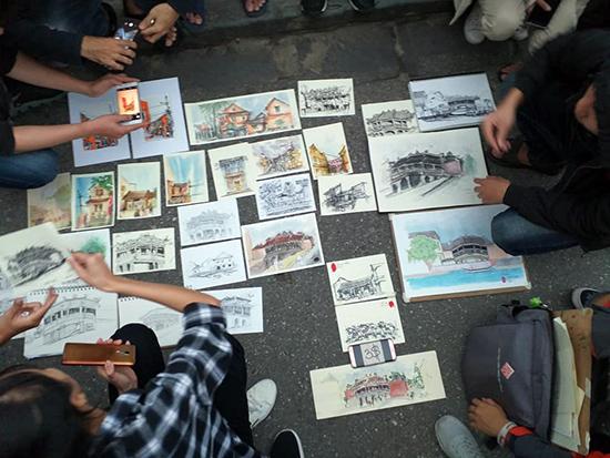 Tác phẩm về Hội An của CLB Câu lạc bộ Ký họa Đại học kiến trúc Đà Nẵng.