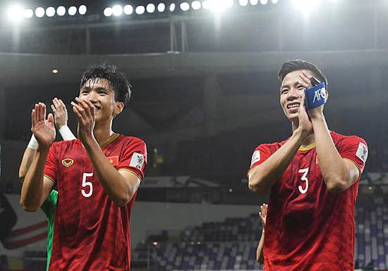 Nụ cười của các cầu thủ Việt Nam sau chiến thắng 2-0 trước Yemen ở vòng bảng Asian Cup. Ảnh: Internet