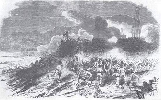 Một bức tranh của Pháp mô tả một trận đánh ở Đà Nẵng năm 1859. (Ảnh tư liệu)