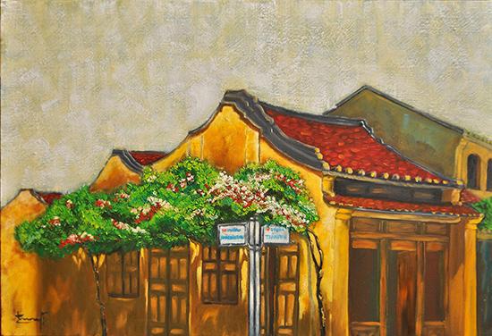 Ngày càng có nhiều văn nghệ sĩ sáng tác chuyên sâu về đề tài quê hương, đất nước.  Trong ảnh: Một bức tranh về phố cổ Hội An của Trương Bách Tường.