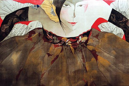 Tác phẩm Tiểu thư trong váy hoa của Bùi Tiến Tuấn.