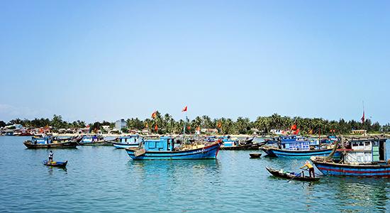Nhộn nhịp tàu cá ở cửa biển Kỳ Hà, Núi Thành. Ảnh: PHƯƠNG THẢO