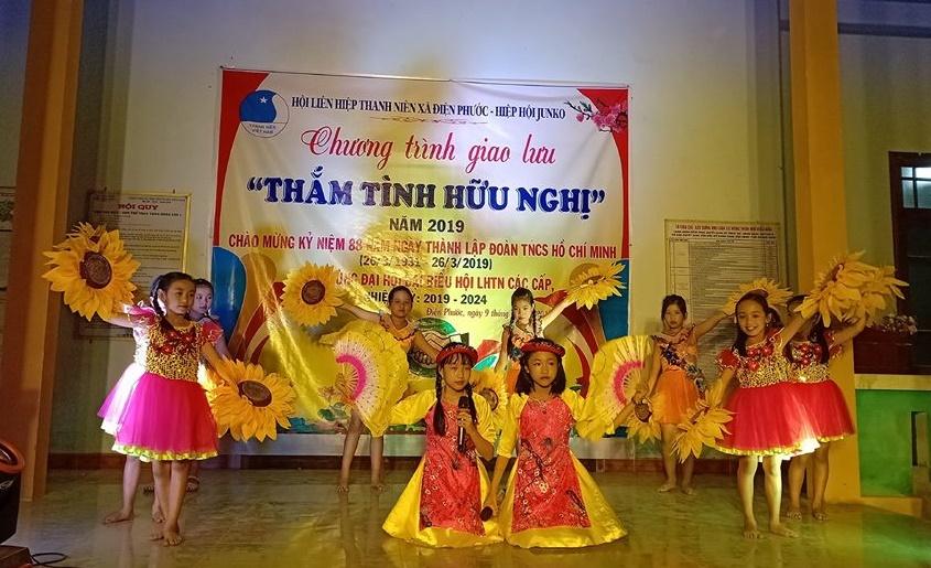 Chương trình giao lưu Thắm tình hữu nghị giữa thanh niên xã Điện Phước và Hiệp hội JunKo. Ảnh: B.T