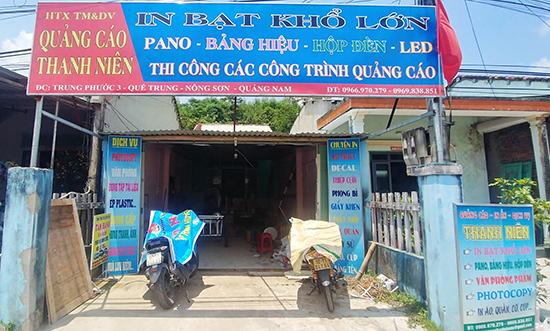 Cơ sở HTX Thương mại và dịch vụ quảng cáo Thanh Niên ở xã Quế Trung, Nông Sơn. Ảnh: PHAN VINH