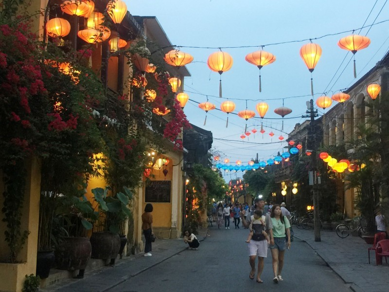 Hoi An ancient quarter is sparkling at night.