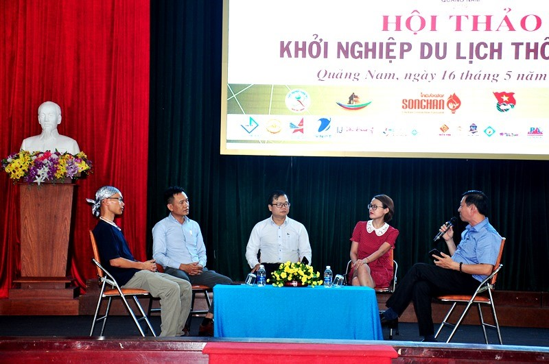 A talk between tourism experts at the event.