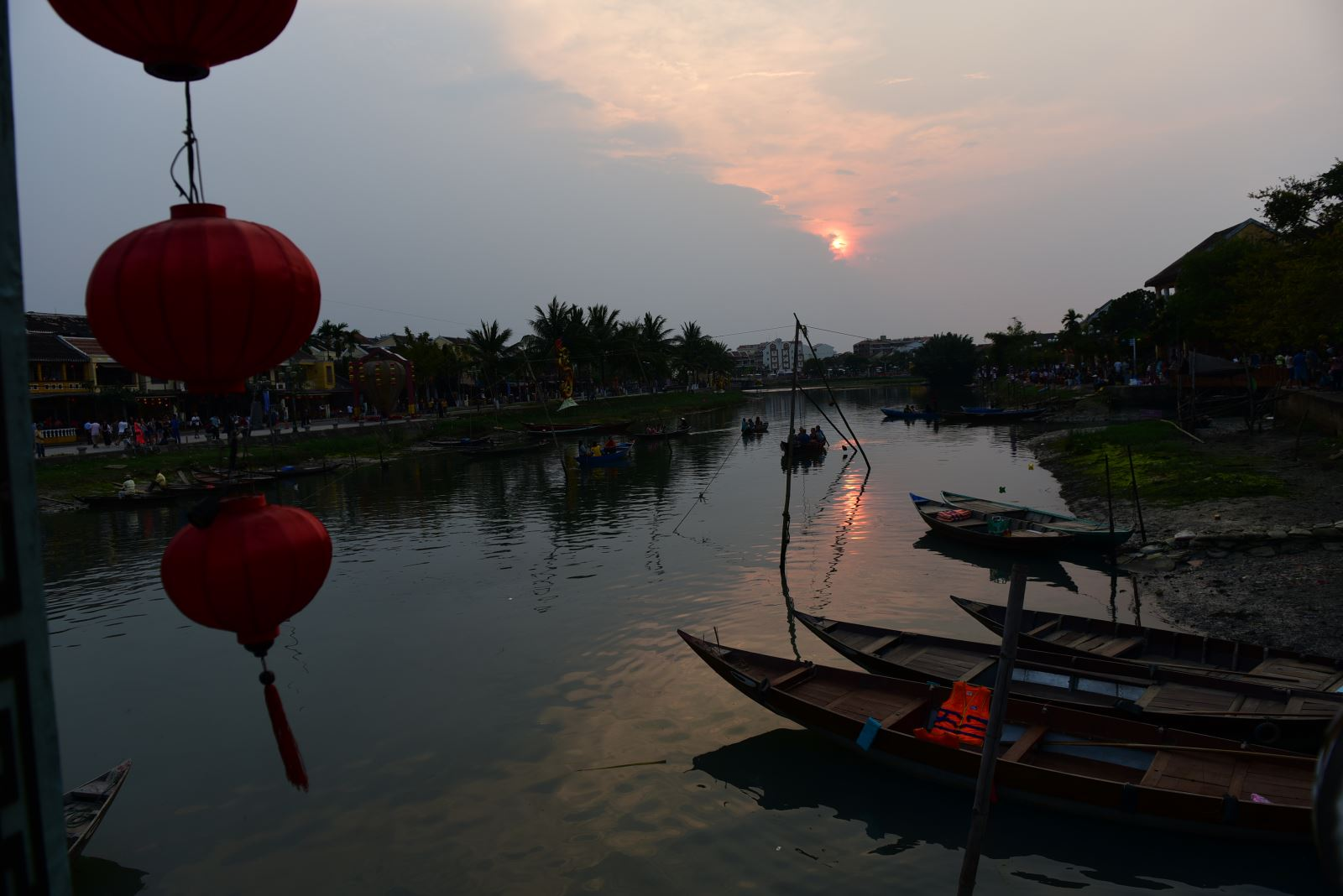 Thu Bon river in the sunset.